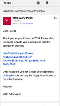 YCIS Application Procedure Email Activation